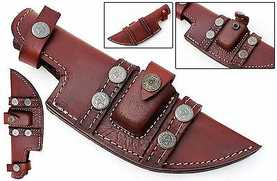 Custom Handmade Horizontal Left Hand Tracker Knife Leather Sheath Brown S12
