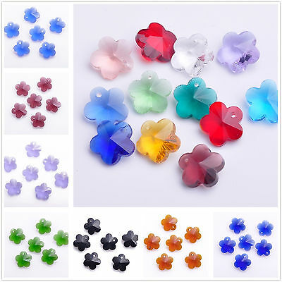 10pcs 14mm Flower Faceted Crystal Glass Jewelry Pendant Loose Spacer Beads Lots