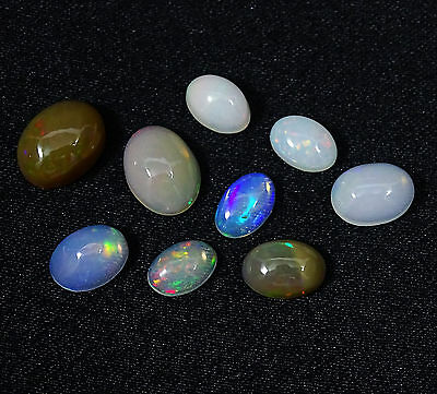 4,85 Ct 100 % Naturel Ethiopian Opal Multicolorer Calibré Cabochon De 9Pc