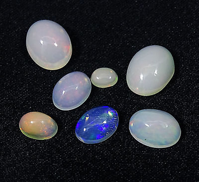 7Pc Lot Naturel Welo Ethiopie Opale De Feu 4.90Cts Multi Flash Calibré Cabochon
