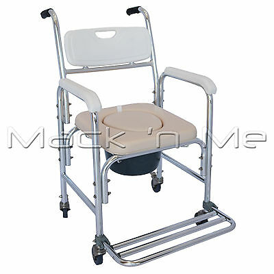 Commode Shower Mobile Chair Aluminium Fold-up Footrest Wheels Padded
