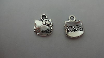 15 25 //50 Qlty Bright Plated Tibetan Silver Hello Kitty Face Charms Pendant
