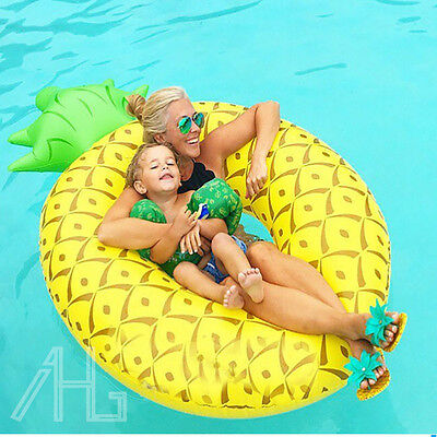 "Giant Inflatable Pineapple Pool Float Raft 6"" Summer Swimming Water Lounger Toy"