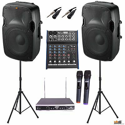 "2000w PA Package Inc 12"" Speakers FX Mixer Twin Radio Mic Stands DJ Sound System"