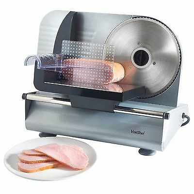 VonShef Precision Electric Food Meat Slicer with 19cm Stainless Steel Blade