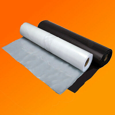 Clear & Black 1000G Polythene Plastic Sheeting 2M & 4M Widths Various Lengths