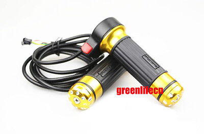 Gold Twist Gas Throttle With Switch Electric Bike Ebike Scooter Motorcycle Moped