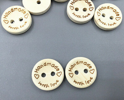 100pcs Natural Wood  HANDMADE WITH LOVE Scrapbooking wooden Buttons sewing 15mm