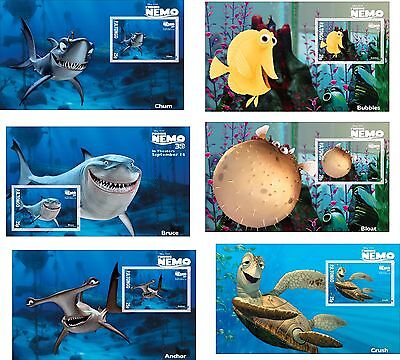 Disney Finding Nemo Characters 16 Souvenir Sheets Mnh Unperforated