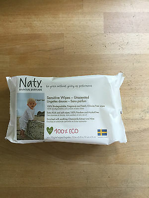 Naty By Nature Baby Care Unscented Baby Wipes 56 Wipes Per Pack 100% Eco