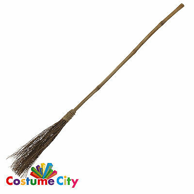 Prop Witches Straw Broom Halloween Witch Fancy Dress Costume Accessory
