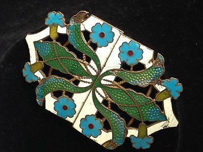 STUNNING and VERY RARE ANTIQUE ART NOUVEAU CZECH  ENAMELED BUCKLE