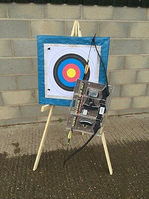 60x60cm  archery target straw boss wooden stand 20 x free target faces  4 pins