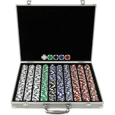 Trademark Poker 1000 Holdem Poker Chip Set with Aluminum Case, 11.5gm, New, Free