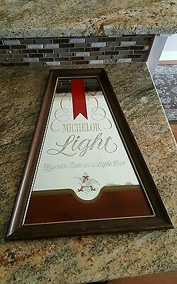 70s MICHELOB LIGHT Bar BEER Wood Mirror SIGN ad antique old vtg display alcohol