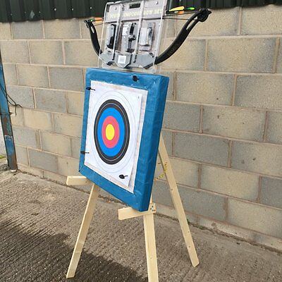Archery Kit 20Lb Bow Target Stand  60X60Cm Straw Target 20 Paper Faces 4 Pins