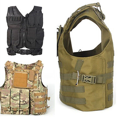 Adjustable Tactical Military Vest Army Paintball Airsoft Combat Assault Vest UK