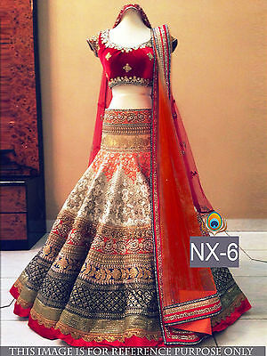 Ghagra Choli Bollywood Indian Designer Party Wear Women Lehenga Pakistani NX6