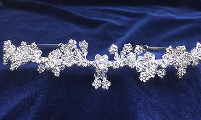 """Crystal Rhinestones Headpiece For Wedding With Silver Plated. 2-5/8""""Tall"""