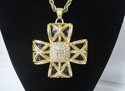 Jewelry & Watches Vintage & Antique Jewelry Jackie Collins Estate Cross Rosary Necklace Crystal Vintage Pendant Celebrity