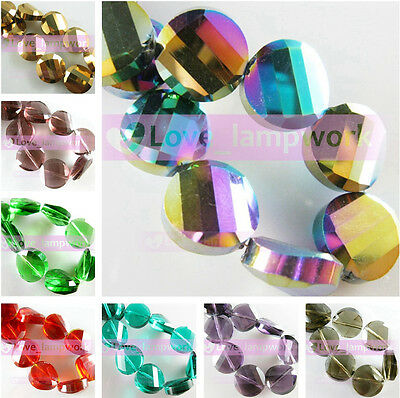 5/10pcs 14mm Round Flat Faceted Crystal Glass Loose Spacer Beads Jewelry Making