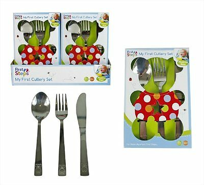 My First Cutlery Set 3-Piece Stainless Steel Knife Spoon Fork Children Kids Gift