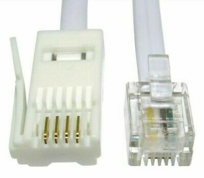 3m, BT Plug to RJ11 Telephone Cable,4 Pin Straight Wired Modem,Router Lead,Black