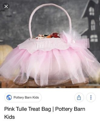 Nwt/new Pottery Barn Kids/teen Halloween Costume Pink Tulle Flower Treat Bag