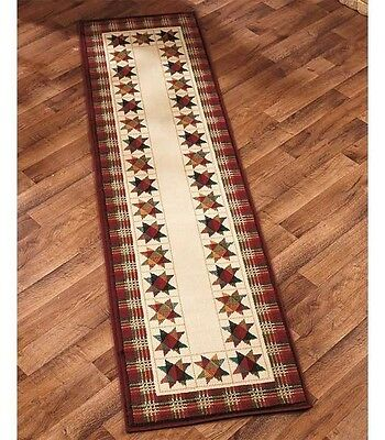 """Patchwork Star Runner 23"""" x 88"""" Rug Country Rustic Primitive Home Decor"""