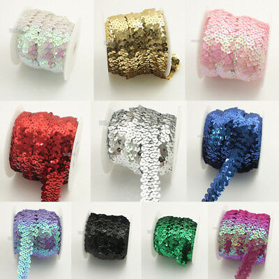 10 Yards Elastic Lace Ribbon Sequin Trimming Stretch Sequin Sewing Crafts DIY