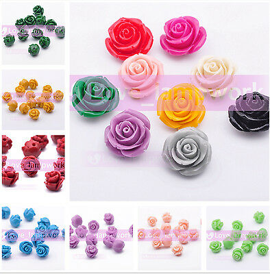 10pcs 8/10/12/14/16/18mm Resin Flower Shape Charms Loose Spacer Beads 28Colors