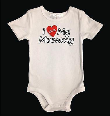 "Personalised Unisex Baby One-Piece White Cotton. ""I Love My...."""