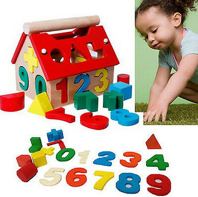 Building Educational Blocks House Wood Toys Kids Developmental Intellectual Baby