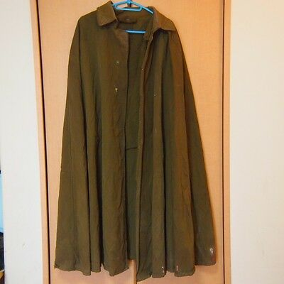 AA43 Poncho Big Free Side Left Mending Khaki Mantle Japanese Antique WW2 Era