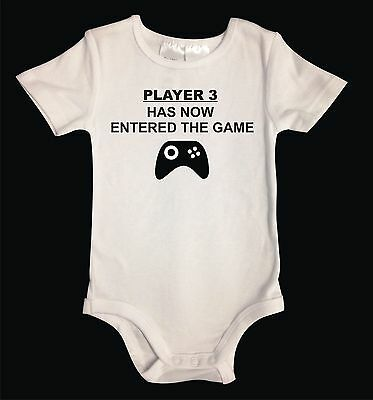 PLAYER 3 HAS NOW ENTERED THE GAME.  White Cotton Unisex Baby One-Piece. Funny