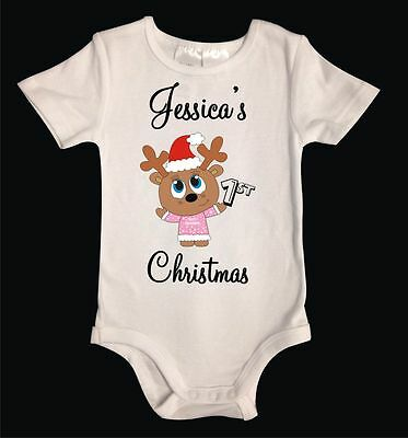 Custom Personalised My 1st Christmas Reindeer Unisex White Cotton Baby One-Piece
