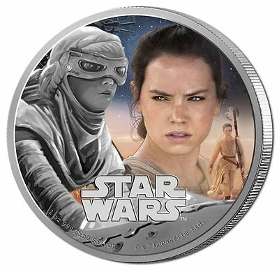 2016 $2 Star Wars: The Force Awakens - Rey 1oz Silver Proof Coin (12888)
