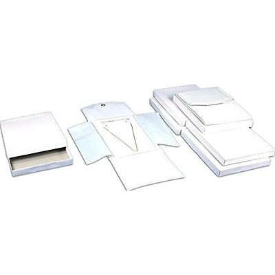 6 White Leather Necklace Jewelry Travel Folder Display Cases, New, Free Shipping