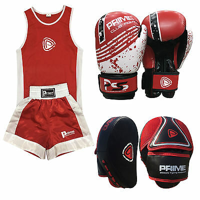 Kid Boxing Set of 3 Boxing Uniform + Boxing Glove 1004 + Focus Pad 1103 (SET-21)
