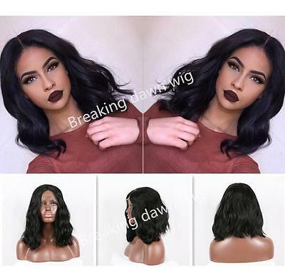 "14""Heat resistant Lace front wig Synthetic Natural wavy Black color 1B"