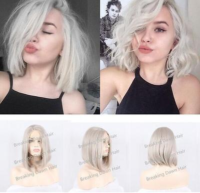 "14"" Heat resistant Lace front wig Synthetic hair Bob straight Lightest gray"