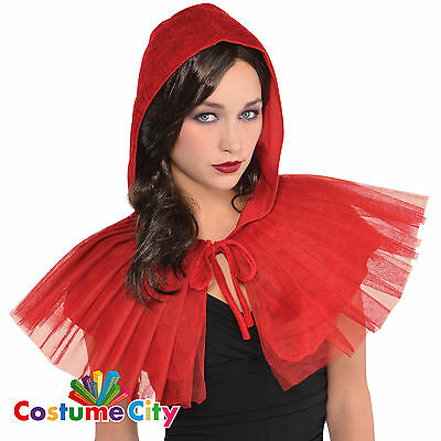 Adults Womens Little Red Riding Hood Hooded Capelet Fancy Dress Cape Accessory