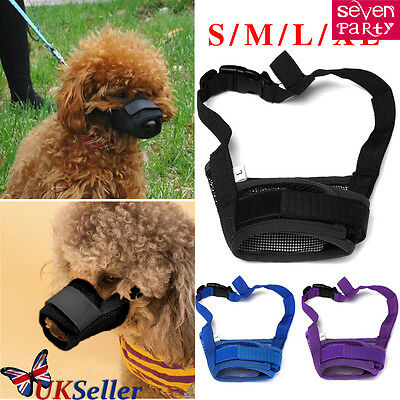 Dog Muzzle Breathable Adjustable 4 Sizes Stop Biting Barking Nipping Chewing UK