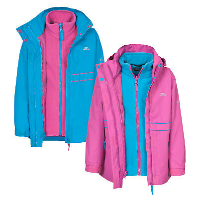 Trespass TIARA Girls 3 in 1 Hooded Waterproof Fleece School Rain Coat Jacket