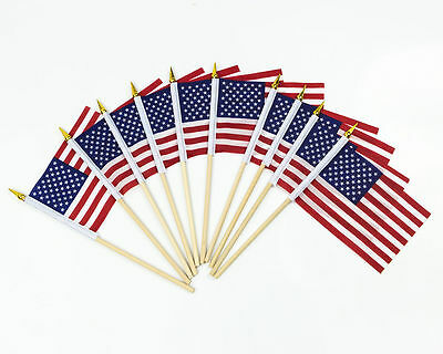 "12PCS USA FLAG ON WOODEN STICK 6"" x 4"" Small Hand Waving American/America/U.S.A"