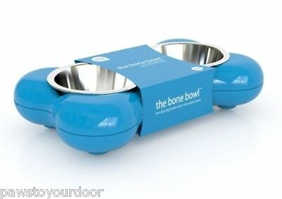 Hing Dog Bone Bowl Twin Stainless Steel Puppy Food Water Feeder Small Blue