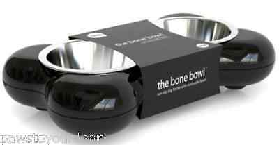 Hing Dog Bone Bowl Twin Stainless Steel Puppy Food Water Feeder Small Black