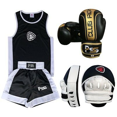 Kid Boxing Set of 3 Pcs Boxing Uniform Boxing Glove 1006 Focus Pad 1102 (SET-18)