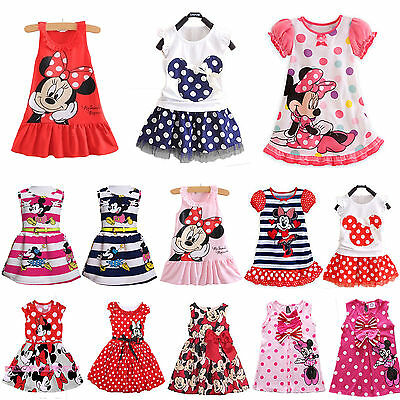 Kids Baby Girls Cartoon Minnie Mouse Party Dress Vest Skirt Toddler Clothes Tops