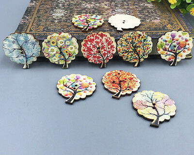 FREE  20-50 PCS Mix Tree Shape Wooden Sewing buttons scrapbooking craft DIY 30mm